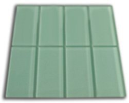 Frosted Sage Green Glass Subway Tile 3