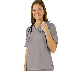 Women's Scrub Set - Medical Scrub Top and Pant, Grey, ()