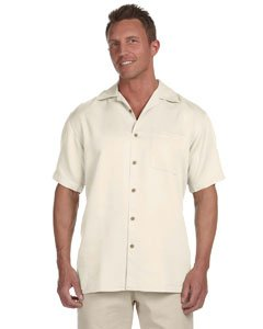 Harriton Men's Bahama Cord Camp Shirt - Large - Creme