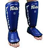 (Fairtex Twister Shin Guards, SP7 - Detachable In-Step Shin Pads (A.K.A. Twister). Size M L XL. Black Red Blue White Yellow Muay Thai Kick Boxing MMA K1 Shinguards (Blue, XL))