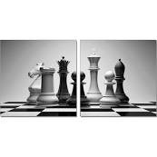 Whiteline Contemporary Modern AW1323 Checkmate Acrylic Painting, 28