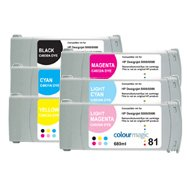 Toner Spot Remanufactured Ink Cartridges Replacement for HP 81 Full Color Set (Dye Series: Black, Cyan, Yellow, Magenta, Light Cyan, Light Magenta)