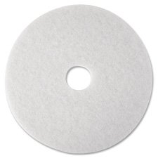 3M Low Speed White Super Polishing Floor Pad 4100 - Round, 12 inch Diameter, 1 inch Thick, Perforated Center Hole, To Buff Very Soft Finish Or Polish Soft Wax On Wood Floor - 5 per case. by 3M (Image #1)