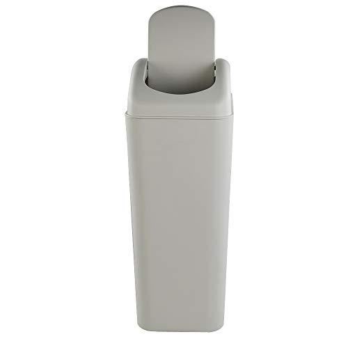 - Cand 10 L Plastic Trash Can, Swing Lid Trash Bins(Light Grey)