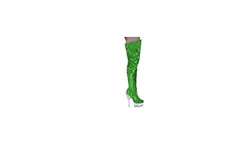 Dancer Long Green Size Dancer Co Boots White Men Ggt Fille Boutique Adulte splay Big Cubing Femme Thick Top Shoes Totty heeled Bottes Heels De go Mixte High Pole go Women tqg0T