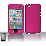 Premium Rubberized Snap-on Hard Crystal Front and Rear Case Cover for Apple iPod Touch 4G, 4th Generation, 4th Gen - Hot Pink compatible with 8GB / 32GB / - Cases 4th Cheap Ipod Generation