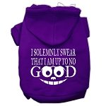 Mirage Pet Products Up to No Good Screen Print Pet Hoodies Purple Size XXXL (20) -