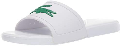 Lacoste Unisex L.30 Slide Sandal, White/Green, 1 Medium US Little Kid (Lacoste For Kids Boys Shoes)
