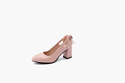 Zapatos de Tacón/Durante la Primavera y el Otoño de Zapatos de Mujer Fresca Pequeña Pajarita Alto Talón Zapatos Grandes Astilleros Pink