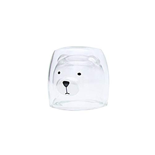 Demitasse Liner (♚Rendodon♚ Wine Glass, Water Cup, Heat-Resistant Glass Cute Bear Cup, HOT Little Bear Cup Milk Glass Double Insulated Coffee Cup Present Mugs (A))