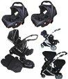 Kidz Kargo Duellette 15 gemelar Twin/Duo Silla de Paseo completa con 2 unidades de sillas, 2 x sillas de coche de 0 meses, 2 x protectores de lluvia gratis, 2 sacos de abrigo