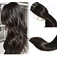 (38cm , 1B Off Black) - Vario Clip in Hair Extensions Human Hair Double Weft Brazilian Hair 38cm Natural Black 7pcs 70g Set Silky Straight Top Grade 7A 100% Real Remy Human Hair Clip on Hair Extensions for women