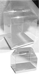 24 PCS 4x3x2-1/2 Party Wedding Favor Handle Clear Boxes With Silver Card