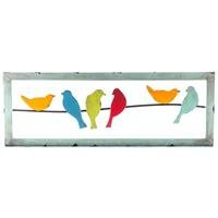 (Colorful 6-Birds on a Wire Metal Wall DecorNew by: CC)