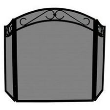 UniFlame 3-Fold Black Wrought Iron Arch Top Screen with Scrolls - Decorative Scroll Fireplace Screen