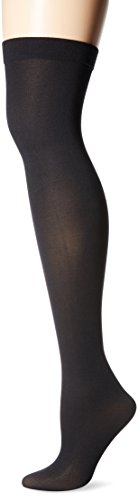 Black Solid Opaque Thigh High Stockings by Foot Traffic - coolthings.us