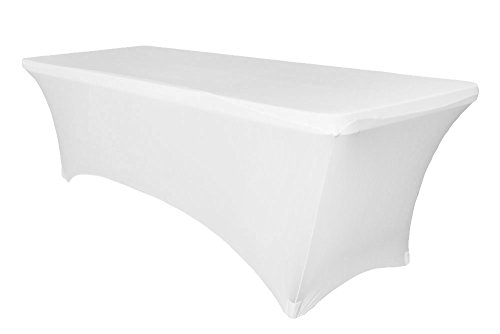 8 ft Stretch Tablecloth (White) | Rectangular Spandex Table cover-Tight Fit Linen-Fitted Tablecloth for DJ, Tradeshows, Vendors, Weddings, Jewelry Parties, Professional Presentations, Kiosks etc