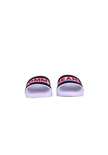 Homme Rouge Blanc Jeans Pour Logo Tommy Claquettes À Blanches H0qgwCx7