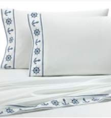 Coastal Life 300 Thread Count Anchors Embroidered King Pillowcases (Set of 2) in Navy/White ()