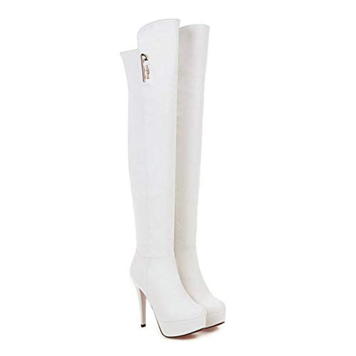 (JOYBI Womens Thin High Heel Platform Over The Knee Boots Fashion Zipper Winter Round Toe Thigh Boots White)