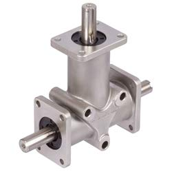 Bevel gearbox DZR size 3 version B i=1:1 housing and shafts stainless steel