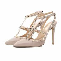 Shoes Leather Slingback (Chris-T Pointed Toe Studded Strappy Slingback High Heel Leather Pumps Stilettos Sandals 8(M) US)