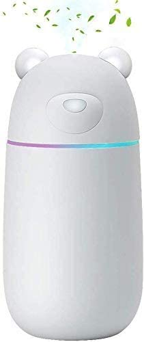 MANLI Humidifiers for Home, 300ml USB Cool Mist Humidifiers Ultrasonic 35db Super Quiet Air Humidifier Diffuser With 7 Colors Led Lights and Waterless