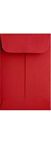LUXPaper Coin Envelopes, Ruby Red, 2 1/4-Inch x 3 1/2-Inch, 50-Count