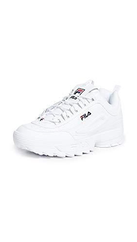 Fila Womens Disruptor II Premium White Navy Red Sneaker - 8.5