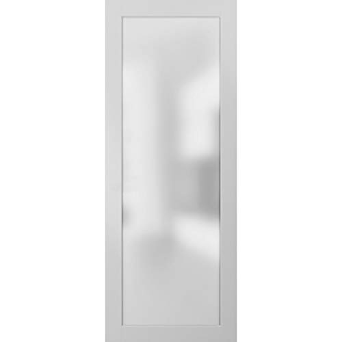 Opaque Glass Door Panel Slab 32 x 80 | Planum 2102 White Silk | Use as Barn Pocket Sliding Closet | Solid Wood Core Interior Door