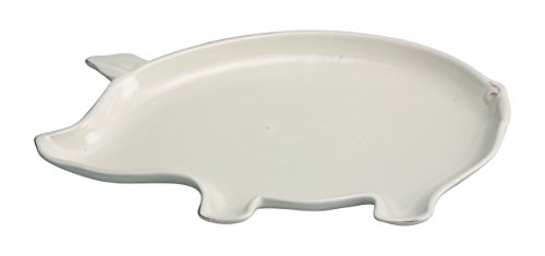 Transpac Dolomite Contented Pig Platter, Small, White -