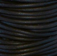 #402 Natural Black Round Leather Cord 1.5mm (1/16'') x 50 m (54.68 yds)