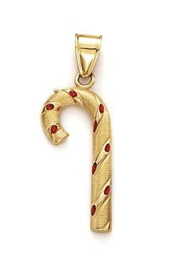 Pendentif émail Or 14ct Candy Cane