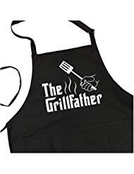 The Grillfather - BBQ Grill Apron - Funny Apron for Dad - 1 Size Fits All Chef Apron Poly/Cotton 4 Utility Pockets, Adjustable Neck and Extra Long Waist Ties