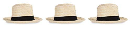Beistle 60658 Straw Skimmer Hats 3 Piece, OSFM, Off White/Black]()
