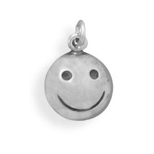 Bunnyberry Oxidized Smiley Face Charm