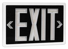 Tritium Exit Sign (Tritium Self Luminous Exit Sign Black Face White Housing - 10 Year - Single Face - Universal Mount)