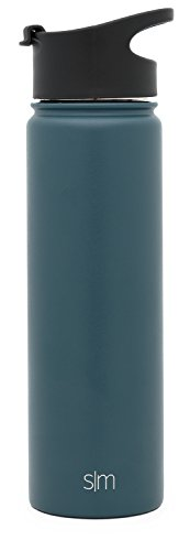Modern Beverage - Simple Modern 22oz Summit Water Bottle - Stainless Steel Starbucks Flask +2 Lids - Wide Mouth Double Wall Vacuum Insulated Blue Leakproof -Riptide
