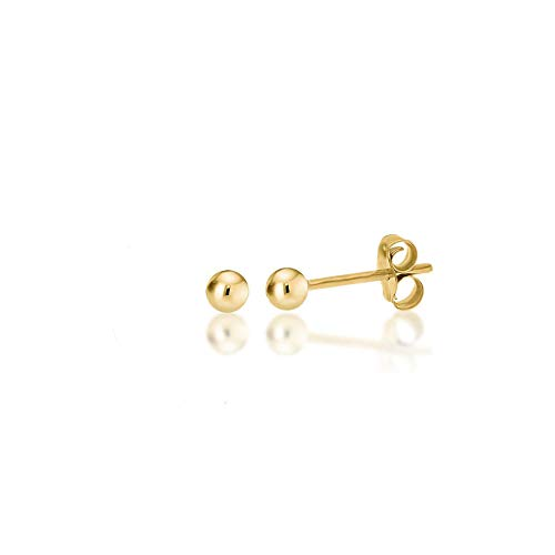 14K Yellow Gold Filled Round Ball Stud Earrings Pushback 2mm ()