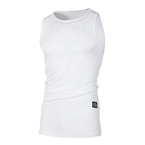 Musculation Slim Col Top Tank Homme Blanc vêtements Sportwear Winjin Sudation Corps Shirt De Quick Rond Elastique Sous T Vests shirt Tops Sport Compression Gilet Débardeur Dry Maillot Fit 6TT4qpn8U