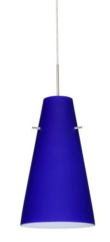 (Besa Lighting 1JT-4124CM-LED-SN 1X6W GU24 Cierro LED Pendant with Cobalt Blue Matte Glass, Satin Nickel)