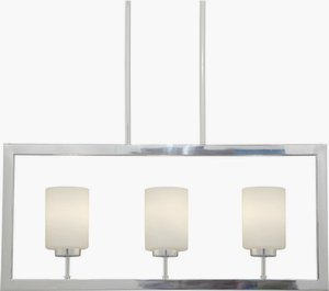 Forte Lighting Nickel Pendant - Forte 2531-03-55 Three Light Pendant, Brushed Nickel Finish Satin Opal Glass