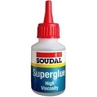 SOUDAL HIGH VISCOSITY SUPER GLUE 50G CYANOACRYLATE ADHESIVE