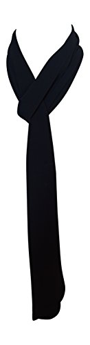 Black Polyester Extra Long Ties - Annys Skinny Silky Solid Tie Scarf (Black)