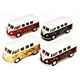 1962 Volkswagen Classic Bus with Decals, SET OF 4 - Kinsmart 5060DF - 1/32 scale Diecast Model Toy Cars