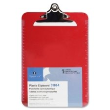 Sparco Transparent Plastic Clipboard, 9 x 12-1/2 Inches, Red (SPR01864)