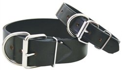 2\ Auburn Leathercrafter Black Tuff Stuff Leather Collar (2 x26 )