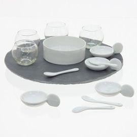 jja - Set di presentazione aperitivo girevole, 14 pezzi, vassoio in ardesia