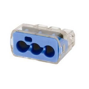 Ideal Industries 30-1039J Model 39 3 Port Push-In Wire Connector 14-10 AWG Blue/Transparent In-Sure™