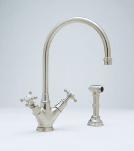 Perrin and Rowe Double Handle Minoan Kitchen Faucet with Side Spray Rinse Finish: Polished Chrome